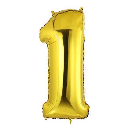 Gold Metallic Foil Balloon Number 1