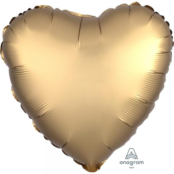 Satin Luxe Gold Sateen Heart Foil Balloon 18inch