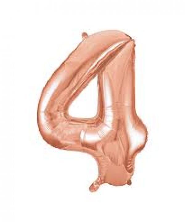Rose Gold Metallic Foil Balloon Number 4 (32cm)