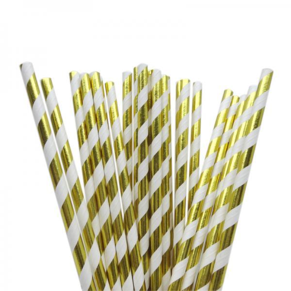 Metallic Gold Party Straws (25)