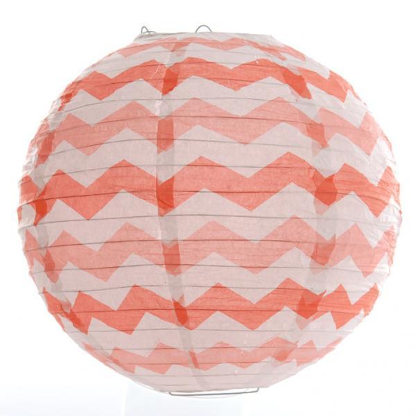 Peach Chevron Wired Lantern