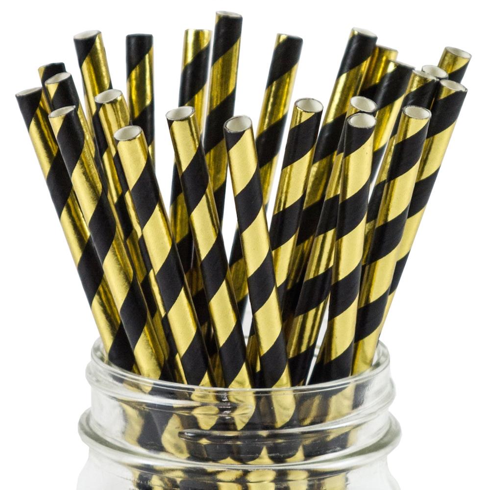 Gold and Black Metallic Striped Straws (25)