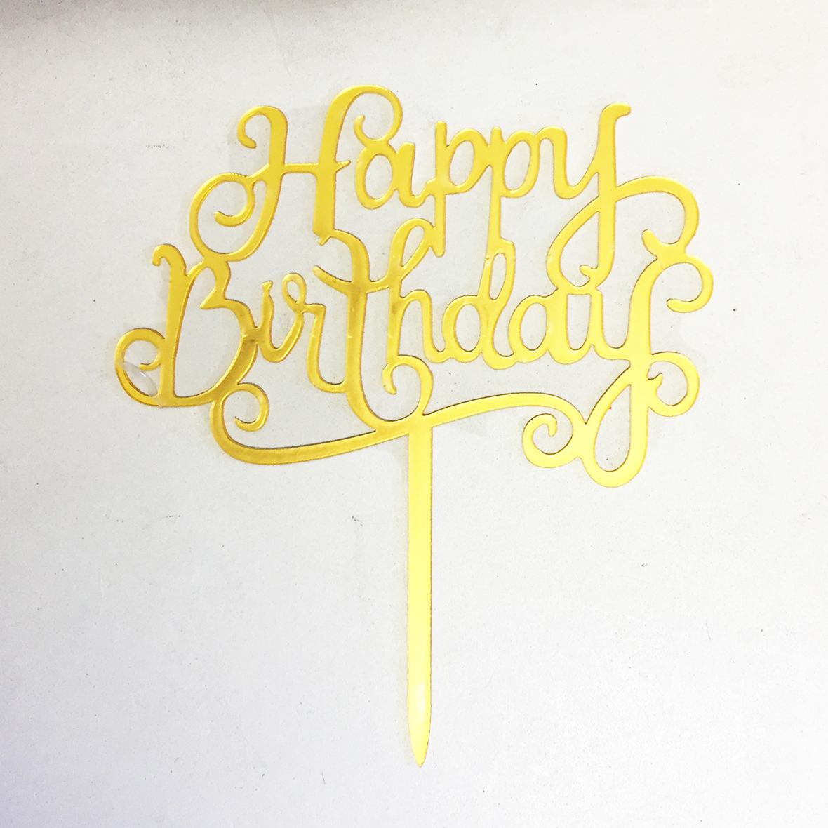 Gold Acrylic Happy Birthday Cake Topper