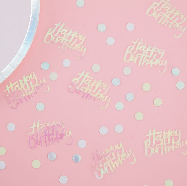 Pastel Party Happy Birthday Iridescent Table Confetti