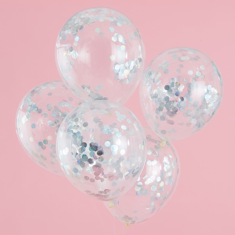 Pastel Party Iridescent Confetti Balloons (5)
