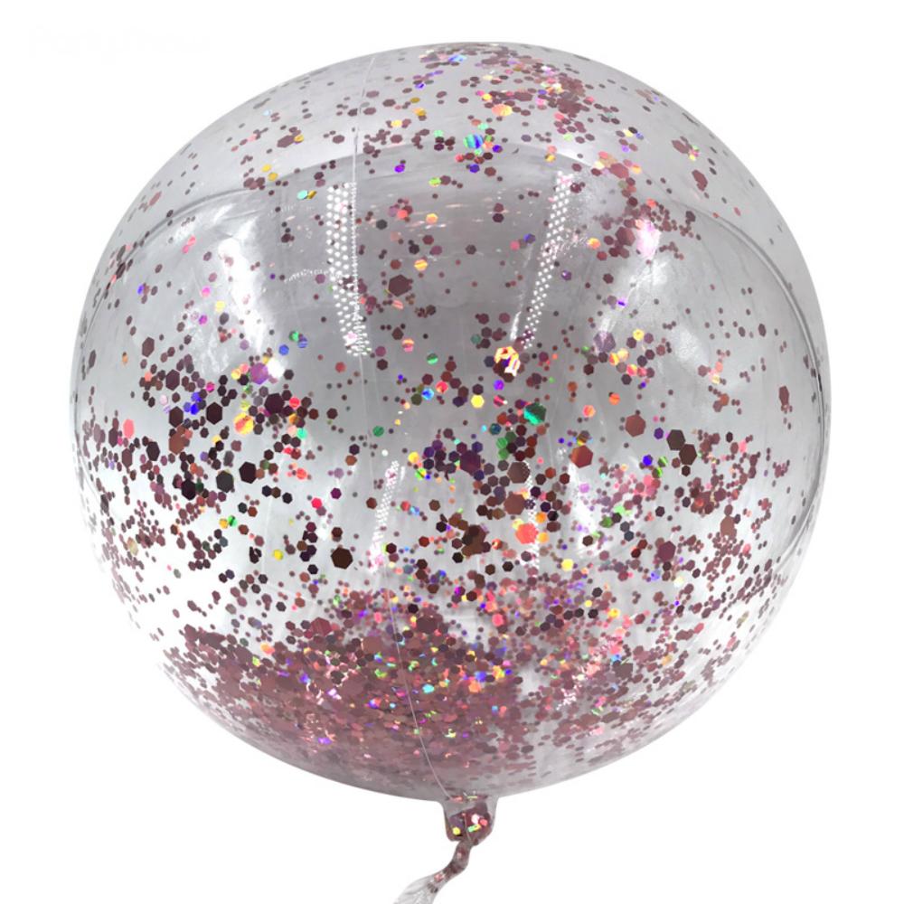 PVC Balloon with Rose Gold Glitter Confetti