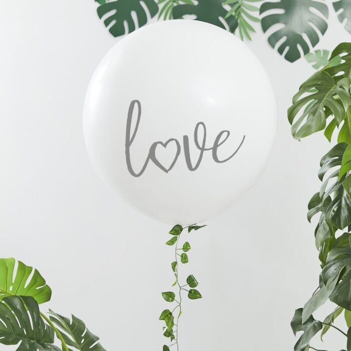 Botanical Bachelorette White Printed 'Love' Balloon 36 Inch