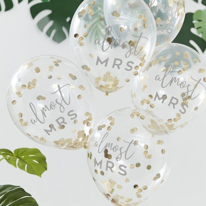 Botanical Bachelorette Gold Confetti 'Bridal Shower' Balloons (5)