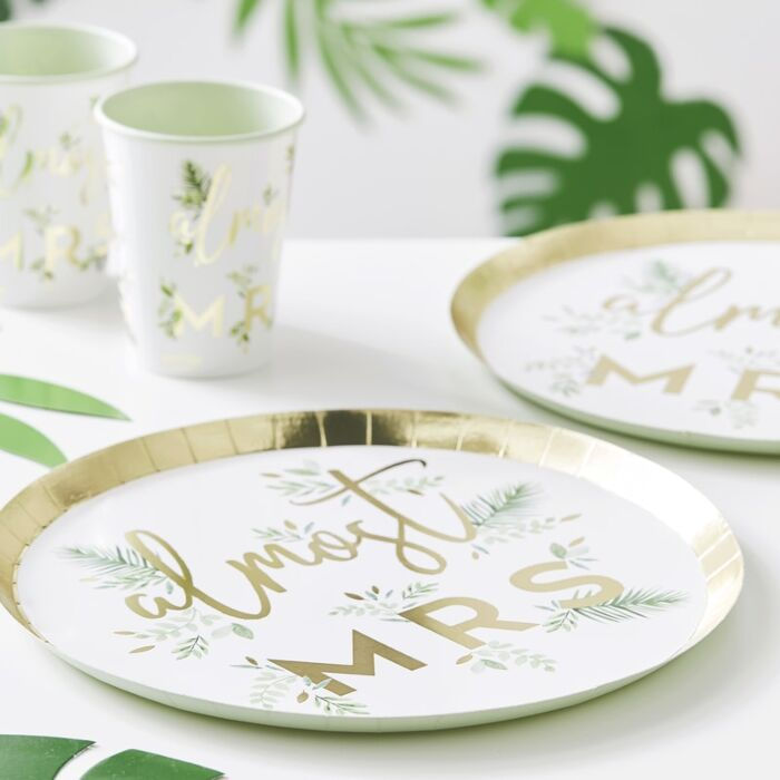 Botanical Bachelorette 'Almost Mrs' Plates (8)