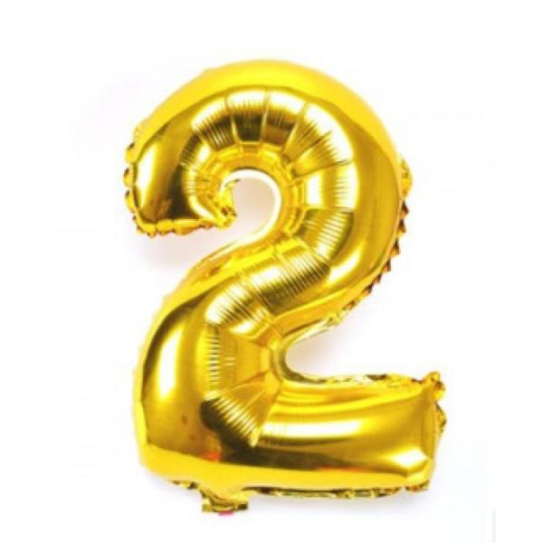 Gold Metallic Foil Balloon Number 2