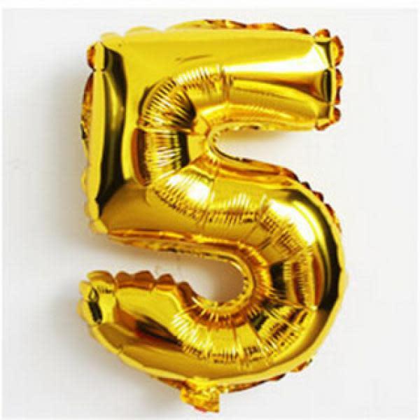 Gold Metallic Foil Balloon Number 5