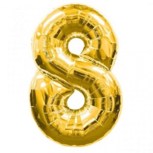 Gold Metallic Foil Balloon Number 8