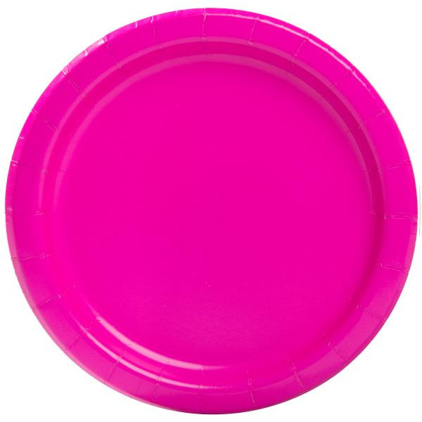 Neon Pink Paper Plates Large (16)