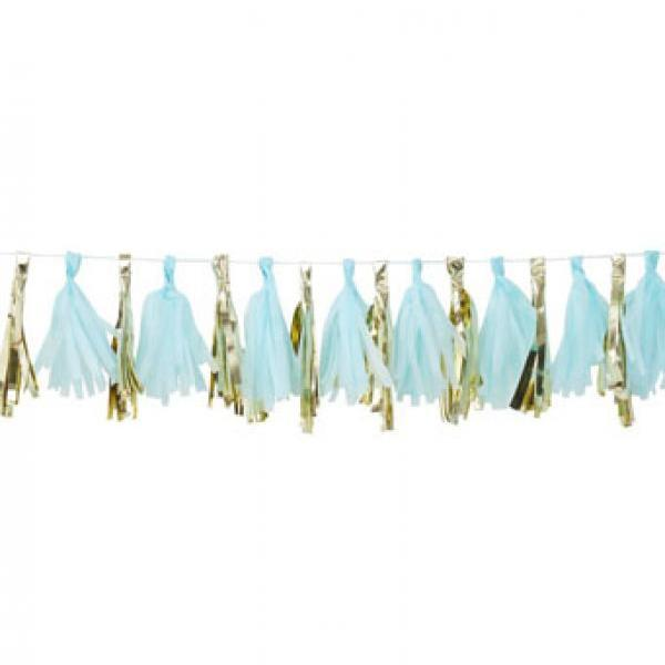 Oh Baby Tassel Garland Blue and Gold
