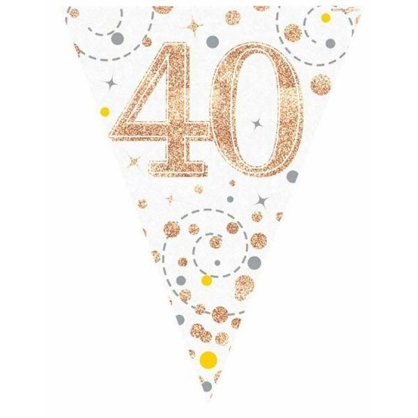 Rose Gold Sparkling Fizz Bunting 40th Birthday