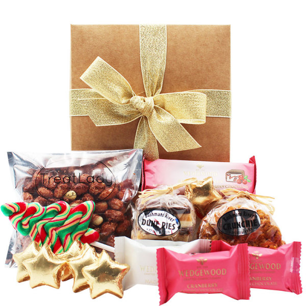 Gold Gift Box filled with treats