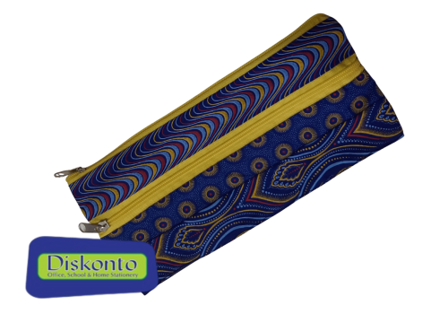 PENCIL BAG AFRICAN SHWE FAS DBL ZIP YELL