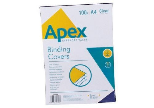 BINDING COVER PVC APEX A4 CLEAR 100