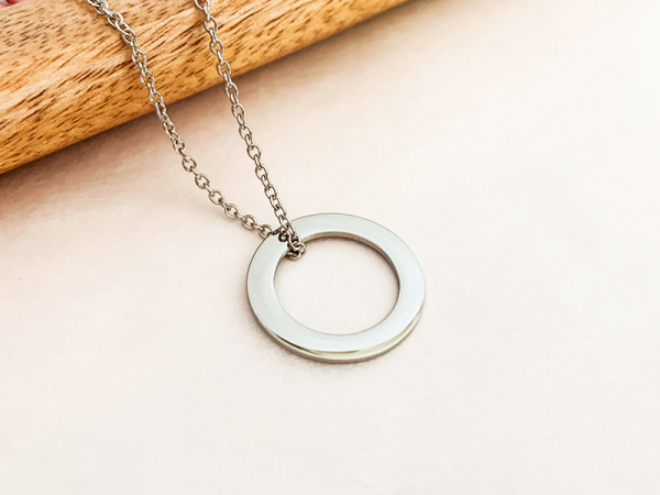 Minimalistic Circle Necklace - Custom Engraving