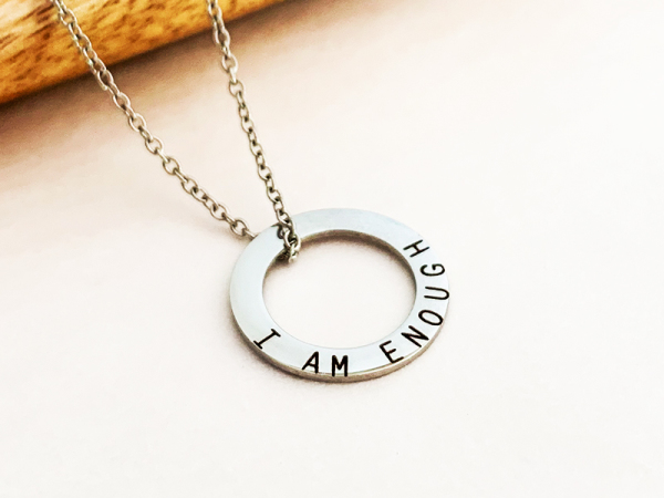 Minimalistic Circle Necklace - I am enough