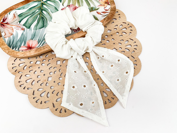 Boho Beach- White Scrunchie With Tail
