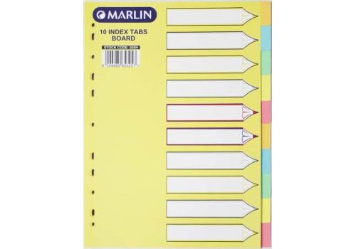 DIVIDER BOARD 10 TAB PASTEL MARLIN
