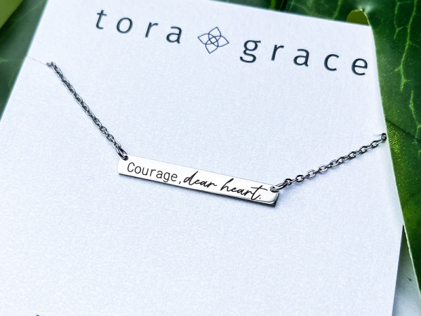 Courage, dear heart - Horizontal Bar Necklace