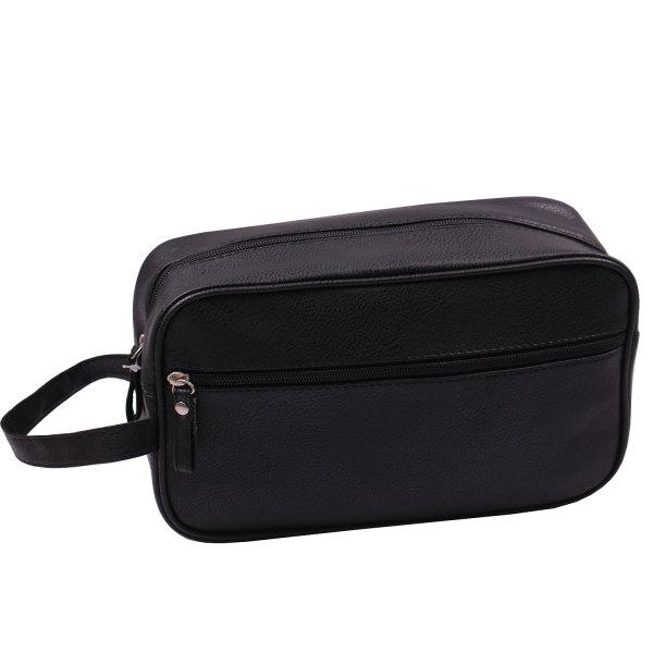 Gents Black Faux Leather Wash Bag