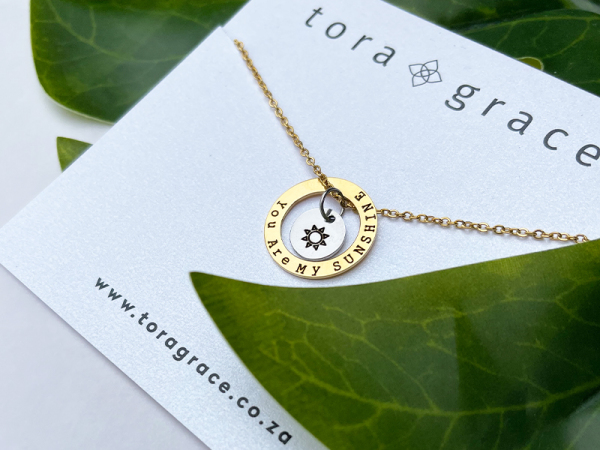 Minimalistic Circle Necklace - You Are My Sunshine