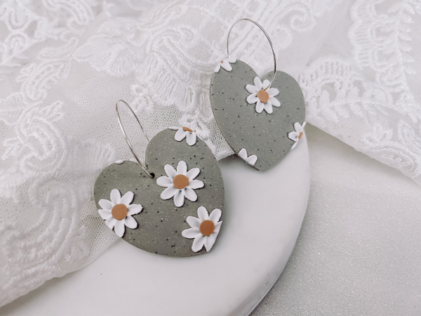 Floral Hearts - Clay Earrings