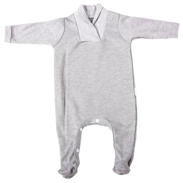 Grey Long Sleeve Collar Babygro (6 - 12Months)