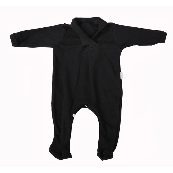 Black Long Sleeve Collar Babygro (6 - 12 Months)