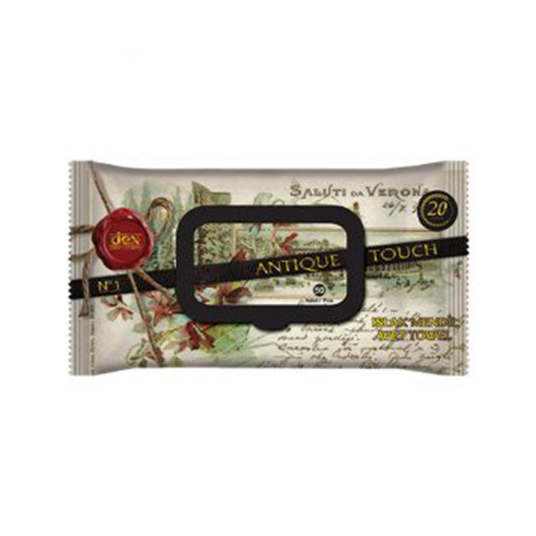 Luxury scented & moisturising wet wipes - Antique touch 50