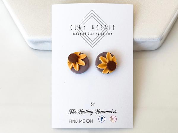 Sunflowers Deep Lilac - Stud Earrings