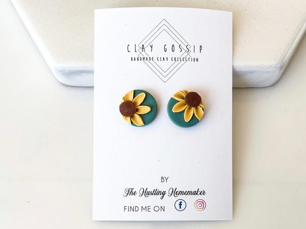 Sunflowers Green - Stud Earrings