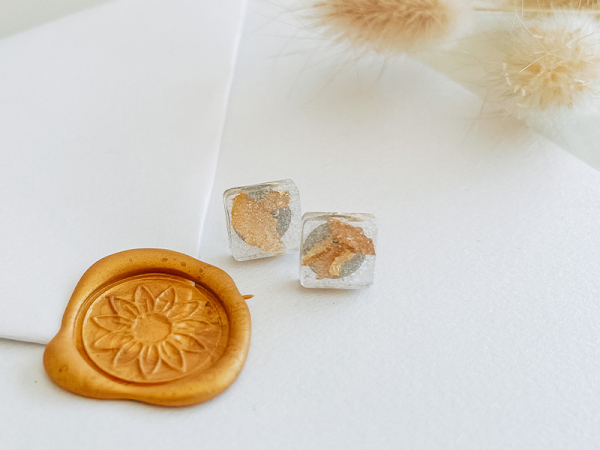Glitter And Gold Square Stud Earrings