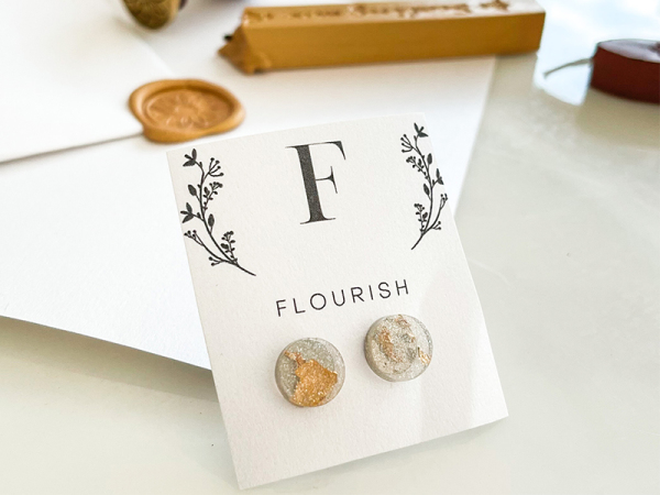 Glitter And Gold Round Stud Earrings