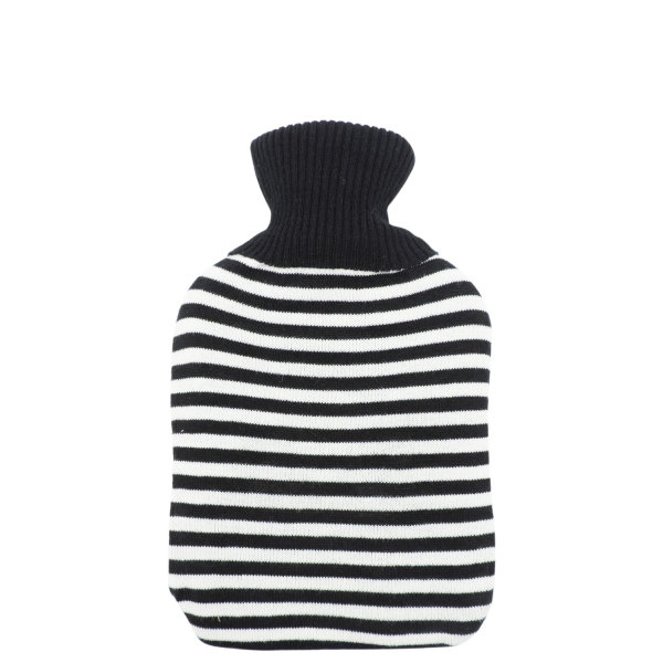 Knitted Hot Water Bottle - Black & White Striped (2L)
