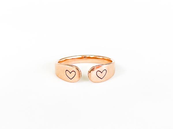 Cuff Ring - Minimalistic Hearts