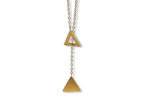 Triangle Feeder Necklace - Yellow Gold