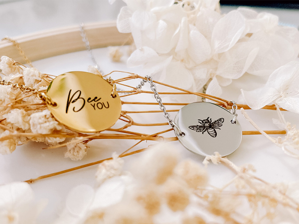 """You Are """"The Bees Knees"""" - Disk Necklace"""