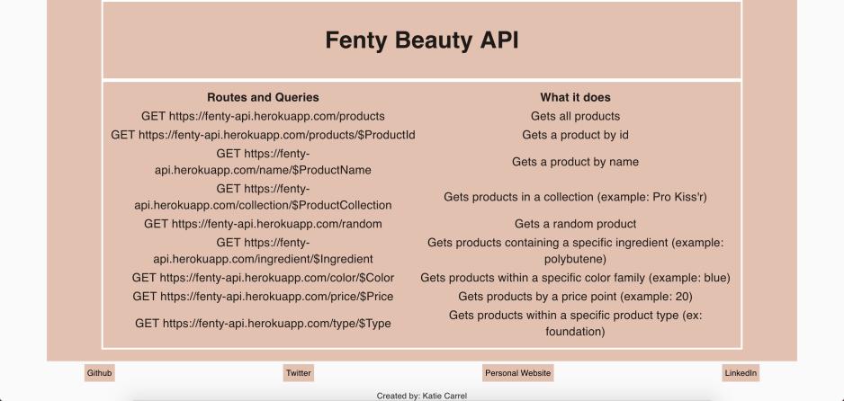 Screenshot of Fenty Beauty API
