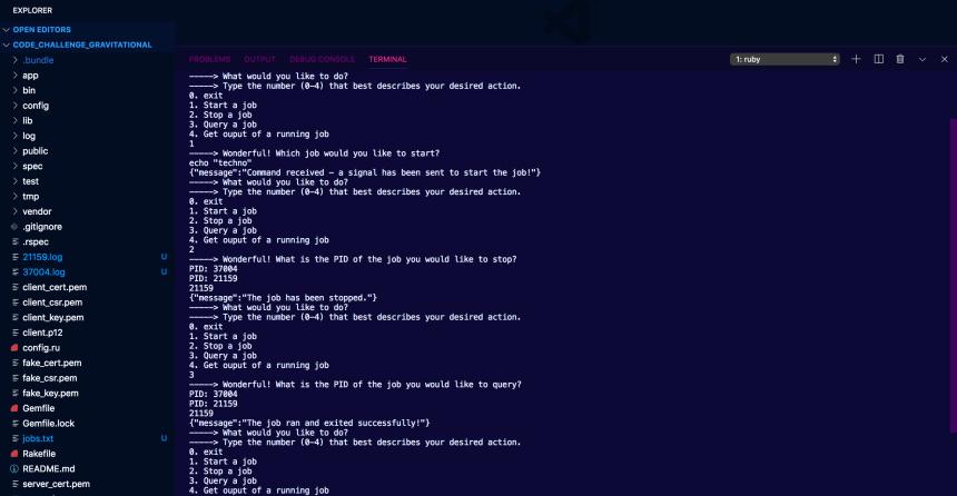 Screenshot of the Linux Job Worker CLI