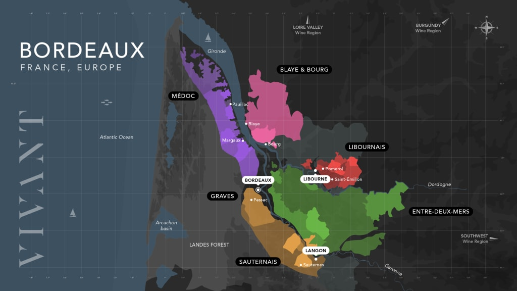 map of Bordeaux's subregions