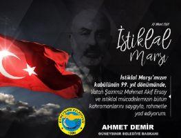 Başkan Demir'den 12 Mart İstiklal Marşının kabulü mesajı