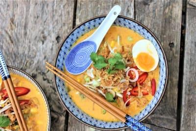 Afbeelding van Rode currysoep met garnalen (Laksa)