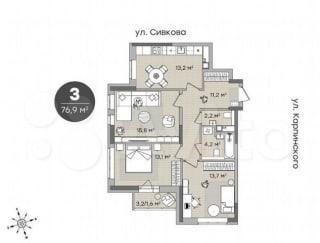 3-к квартира, 75.3 м², 5/12 эт.
