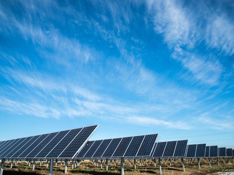 Photovoltaik-Anlagen, die in Reihen hintereinander angeordnet sind und unter einem strahlendblauen Himmel stehen.