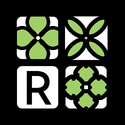 Red Square Flowers Logo
