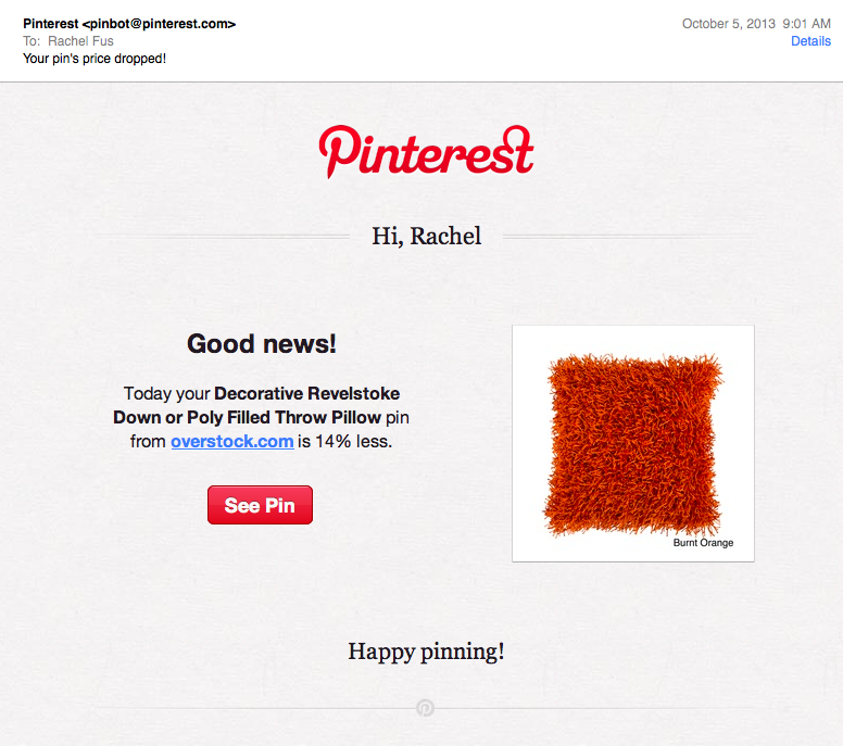 pintrest email deal